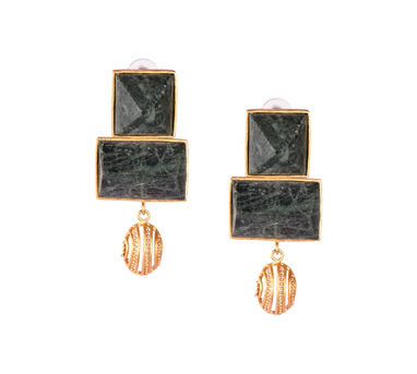 Itrana|Marble Intricate Dangler  Gold Earring