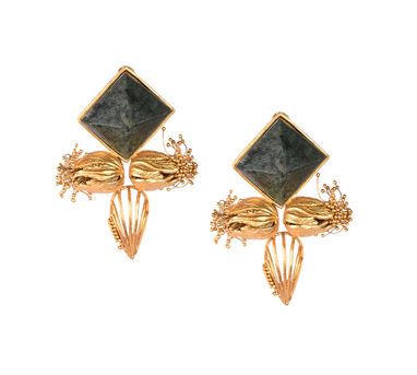 Itrana|Marble Intricate Blossom Gold Earring