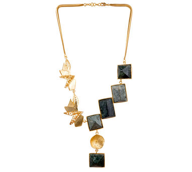Itrana|Marble Intricate Gold Half&Half  Metal Necklace
