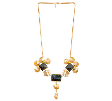 Itrana|Marble Intricate Gold Statement  Necklace