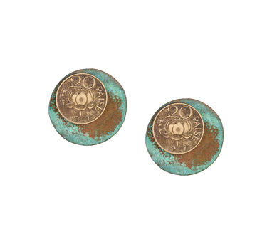Krithaa 20 Paisa Patina Circle Earrings