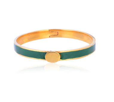 Kesya|Green and Gold Enamel Bracelet