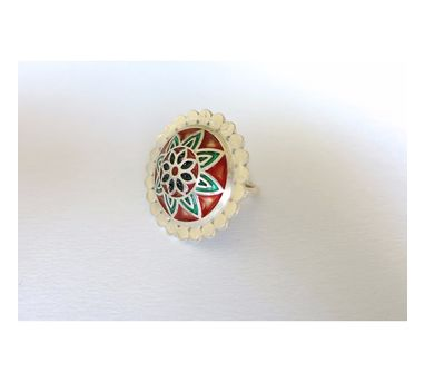 Lai|Red and Green Enamel Ring