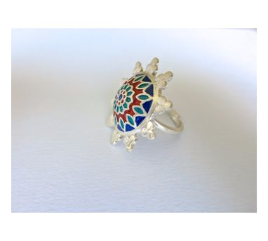 Lai Blue and Red Enamel Ring
