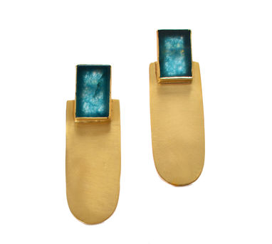 Lune|Blue Stone Jade Matte Gold Earrings