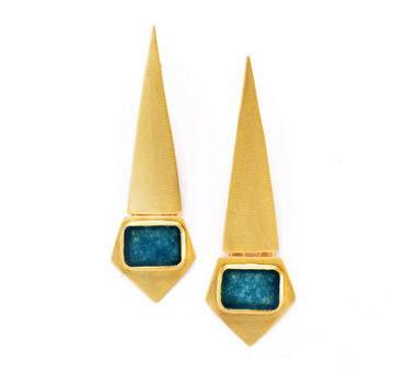 Lune|Blue Jade Matte Gold Earrings