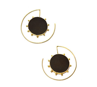 Lune | Gold Dotted Circular Earrings