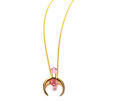 Lune | Pink Quartz Horn Necklace