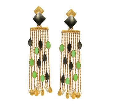 Meraki Jewelry   Green Enamel Earrings