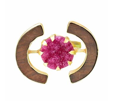 Madiha Jaipur|Cocktail Pink Druzy Ring
