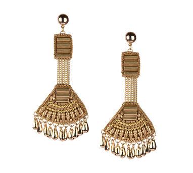 Malleka Tiny Tassel Brass Earrings