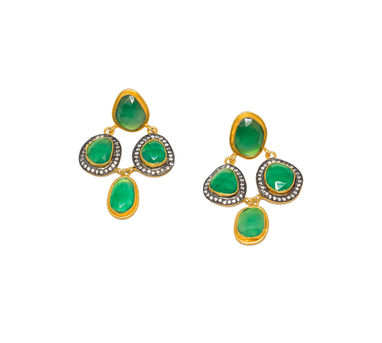 MYO Designs | Onyx Green Checkered Earrings