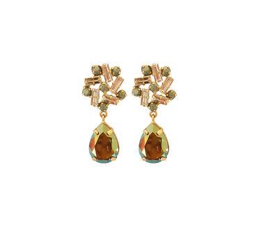 Radhika Agrawal|Pinwheel Drops Green Earrings
