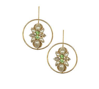 Radhika Agrawal|Green Crystal Chained Hoops