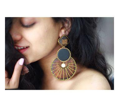 RejuvenateIEnameled brown & Black Wooden Earring