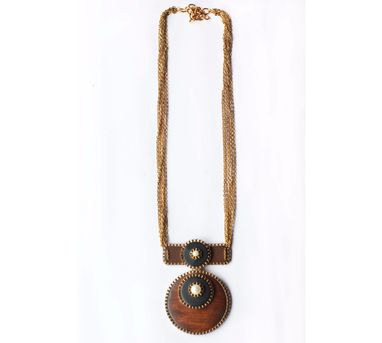 RejuvenateIEnameled brown & black Wooden chain Necklace