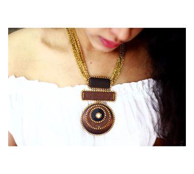 RejuvenateICircular enameled Wooden Necklace