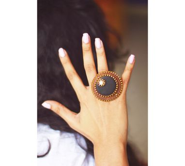 RejuvenateIEnameled Brown Double Circular Wooden Ring