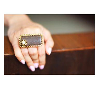 RejuvenateIEnameled Brown Rectangle Wooden Ring