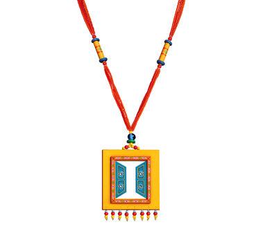 Razia Kunj Yellow and Blue Jharoka Inspired Necklace