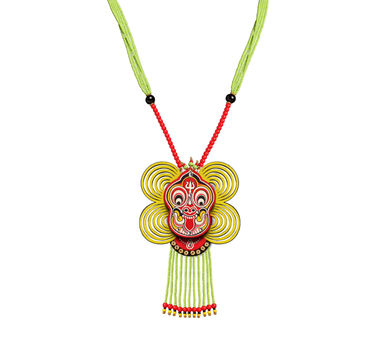 Razia Kunj|Theyyam Dance Mask Necklace With Bead Droppings