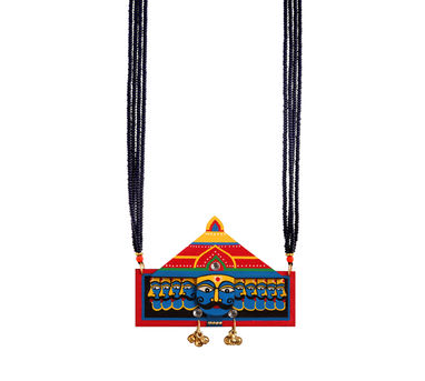 Razia Kunj|Vignette Blue Raavan Motif Necklace