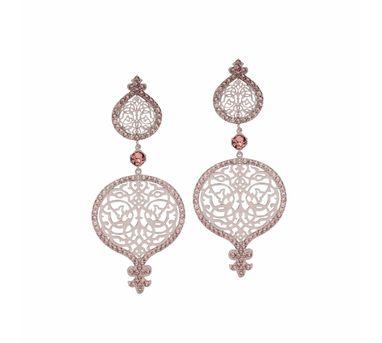Eina Ahluwalia| Persian Jall Outline Pink Earring