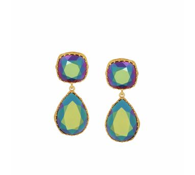 Eina Ahluwalia| persian Back Jaal  Green Earring