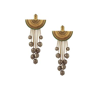 J J Valaya|Ranas of Kachch Moon Drop Earrings