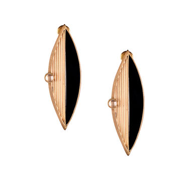 Suhani Pittie | Gold Plated Wire & Black Acrylic Marquise Earring With Round Polki On It