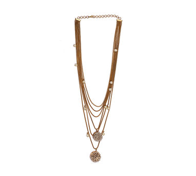 Suhani Pittie   Gold Palted Multi Dori Pearls Chain Neckpiece With 2 Round Wire Pearl