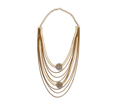 Suhani Pittie | Gold Plated 6 Dori And Flat Chain Neckpiece With Round Wire Pearls On It
