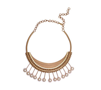 Suhani Pittie | Gold Plated Wire And Ball Chain Hassle With 13 Half Pearls On Wire