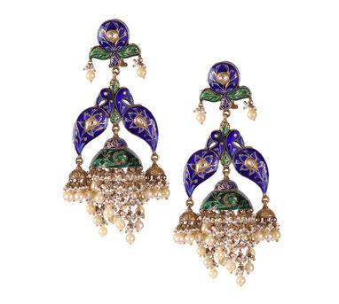 Swara|Minakari Peacock and Blossoming Flower Artwork Earring