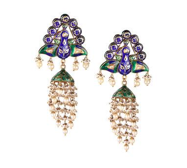 Swara|Minakari Artwork Dancing Peacock Motif Earring