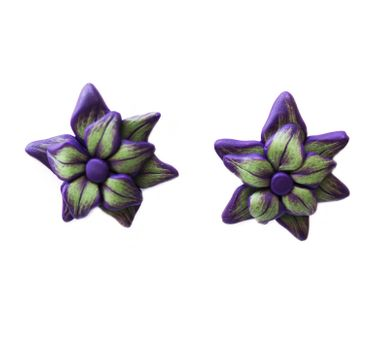 Tripti's Exclusive|Purple Floral Stud Earring