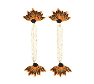 Tripti's Exclusive|Orange and Black Dangler Earrings