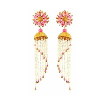 Tripti's Exclusive|Pink Floral with Droplets Dangler Earrings
