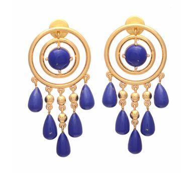Te Maya|Blue Lapiz Lazuli Circle Earrings