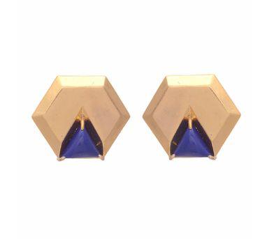 Te Maya Blue Triangle Lapiz Lazuli Studs