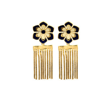 Temaya | Floral Studs with Dangling Chains-2