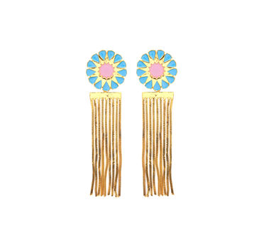 Temaya | Floral Studs with Dangling Chains-3