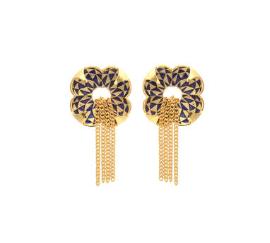 Temaya | Floral Studs with Dangling Chains-4