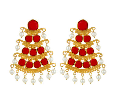 Unniyarcha|Andamaina Red Earrings