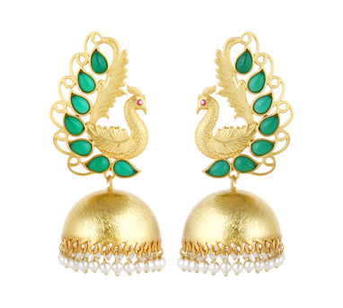 Unniyarcha|Majestic Green Peacock Earrings