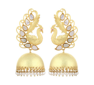 Unniyarcha|Majestic White Peacock Earrings
