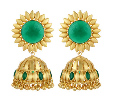 Unniyarcha|Bhavya Green Earrings