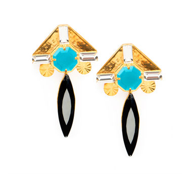 Valliyan | Gold plated and blue stone earrings