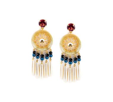 Valliyan | Pearl tassel earrings
