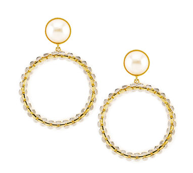 Valliyan | Round pearl and gold danglers